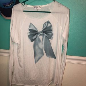 Long sleeve white Wildfox bow shirt